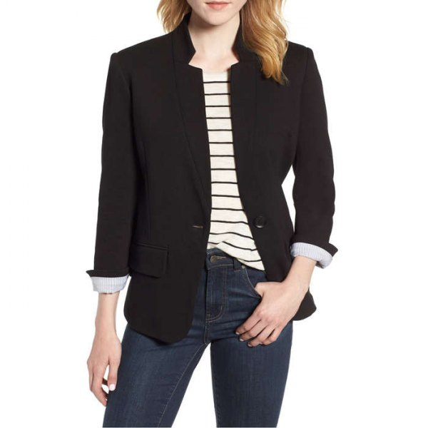 black blazer with pale yellow striped t shirt