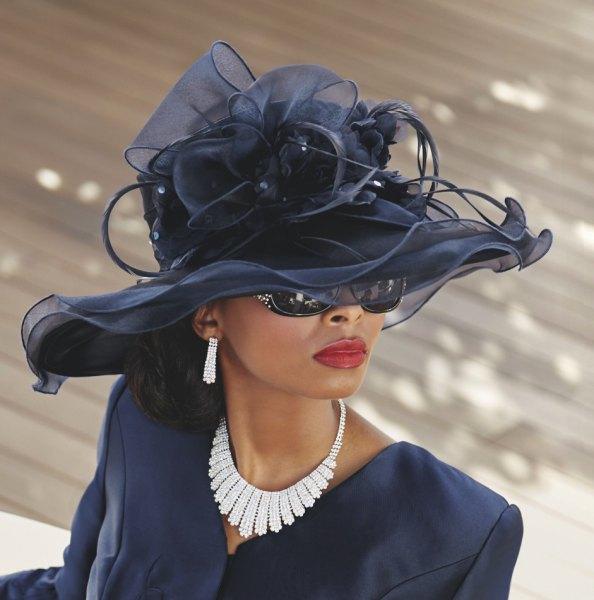 black blazer with skirt and chiffon church hat