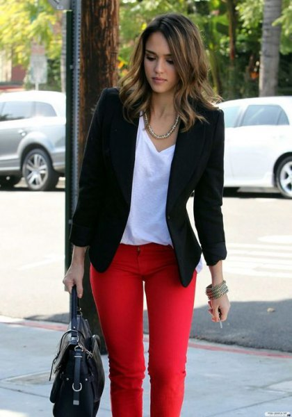 black blazer with white v neck relaxed fit t shirt