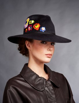black embroidered bush hat with rounded collar leather shirt