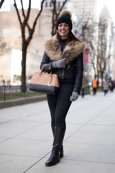 black leather fur collar jacket with knit hat and knee high boots
