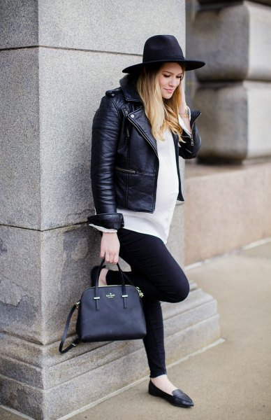 black leather hat with biker jacket and white tunic button up shirt