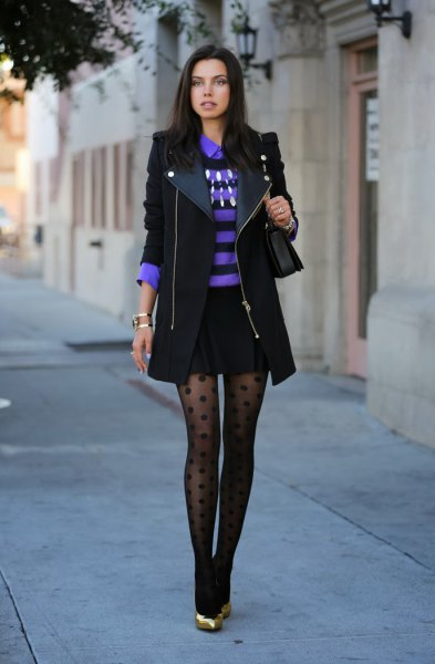 black longline blazer with blue striped polo shirt