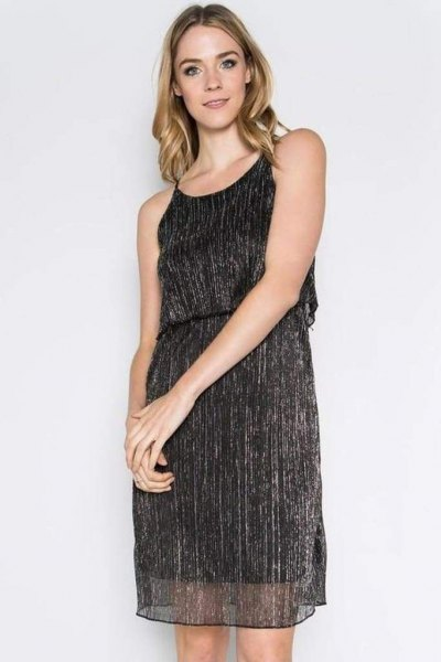 black semi sheer metallic tank mini dress