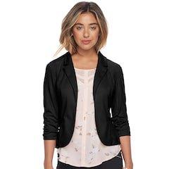 black slim fit blazer with white printed chiffon blouse