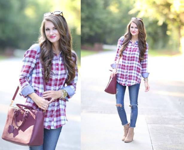blue and blush plaid shirt with ripped knee skinny jeans