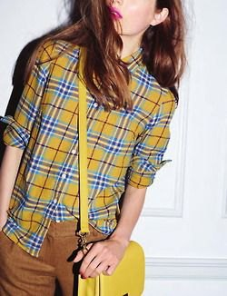 blue and yellow shirt with green slim chinos