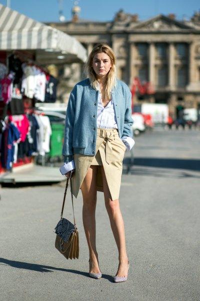 blue bomber jacket with cargo wrap skirt