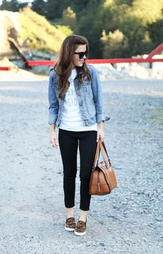 blue denim jacket with white graphic t shirt and cropped jeans