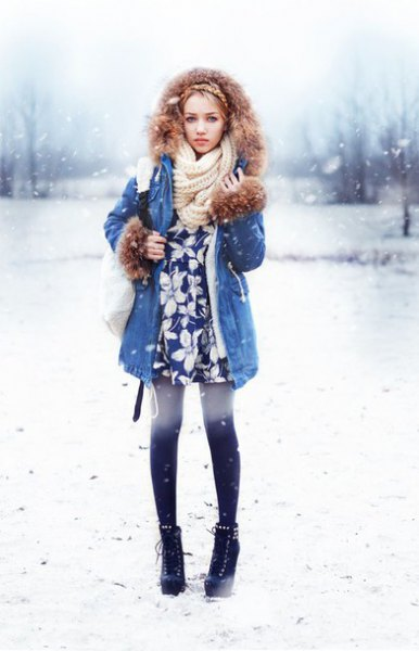 blue longline denim jacket with white knit scarf and tunic top