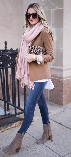 blush blazer with white blouse and grey suede ankle boots