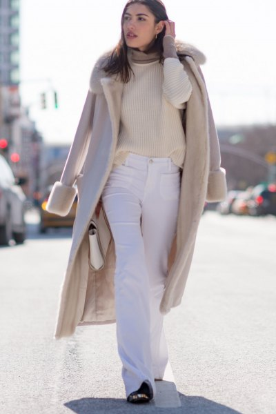blush pink faux fur collar wool long coat with flared off white jeans