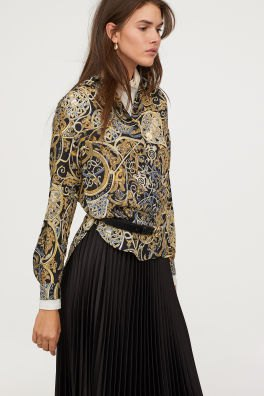 blush pink long sleeve tribal printed chiffon blouse with pleated skirt