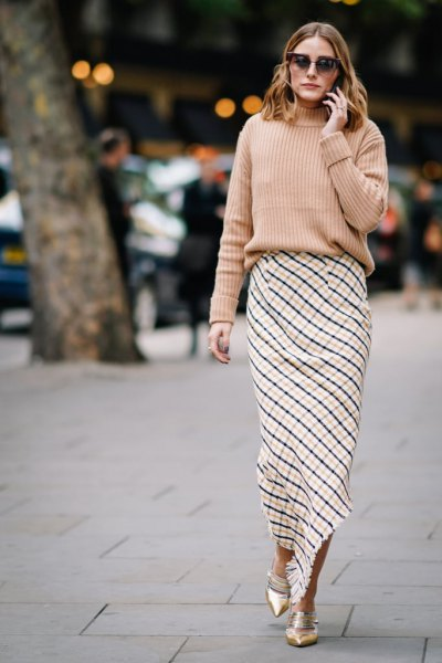 blush pink ribbed sweater with white and black plaid maxi skirt