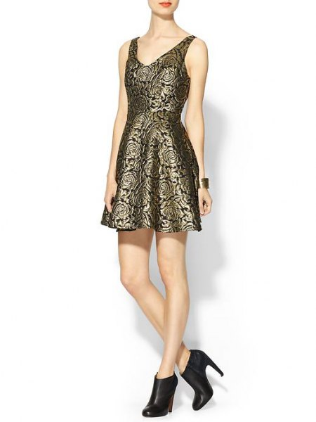 bronze and black printed fit and flare mini dress with leather heeled boots