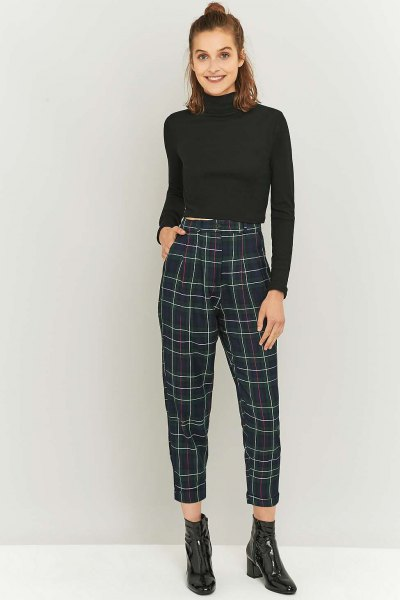 cropped mock neck sweater with black and white plaid pants