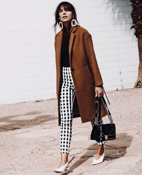 green longline blazer with black and white plaid pants
