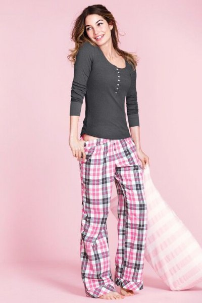 grey and white low rise plaid pajama pants with long sleeve scoop neck tee