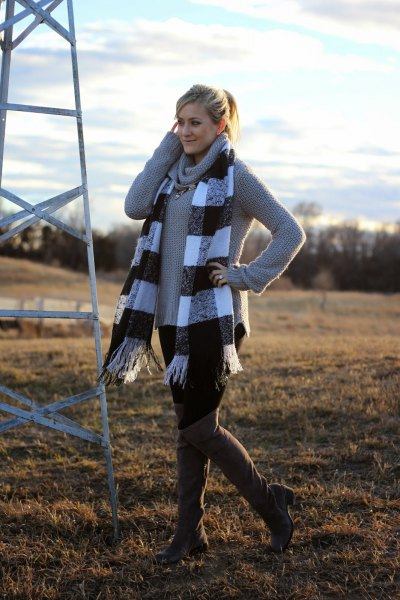 grey cowl neck sweater with plaid fringe scarf