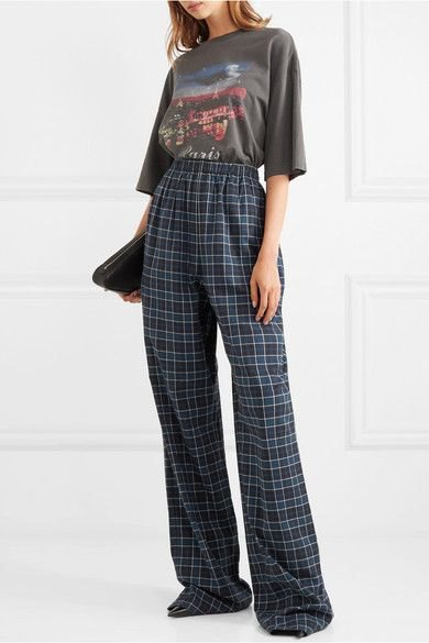 grey graphic t shirt with blue high rise plaid flannel wide leg pants