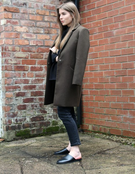 grey long wool coat with black ankle jeans