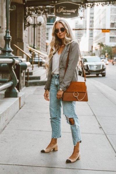 grey plaid blazer with white scoop neck tank top and boyfriend jeans