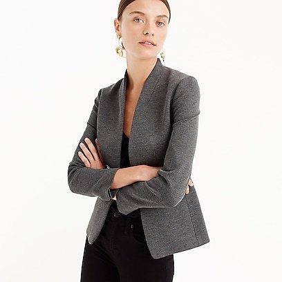 grey slim fit blazer with white scoop neck tank mini dress