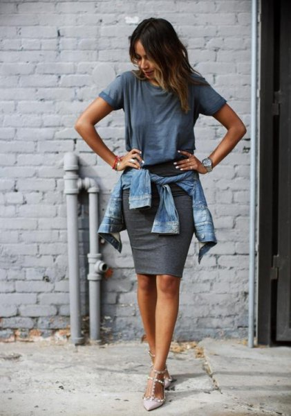 grey t shirt with denim jacket and mini bodycon skirt