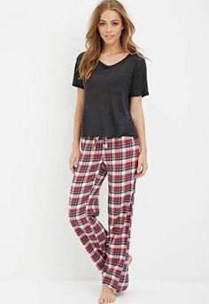 grey v neck t shirt with plaid relaxed fit pants