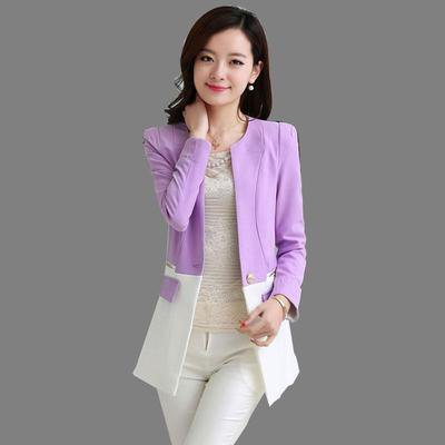 light purple and white color block suit jacket with skinny pants