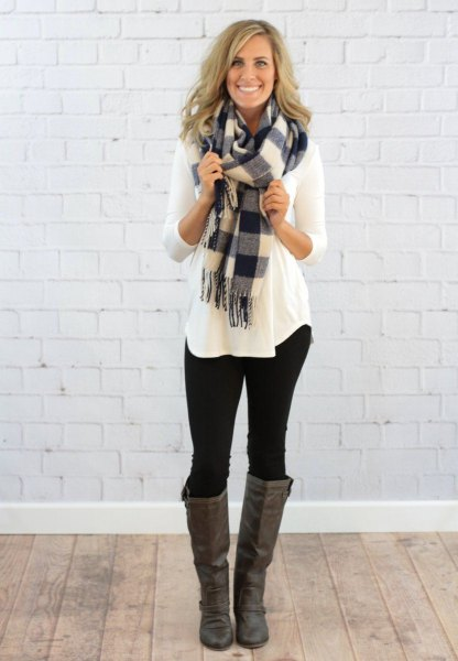long sleeve tee with grey and white plaid scarf and knee high boots