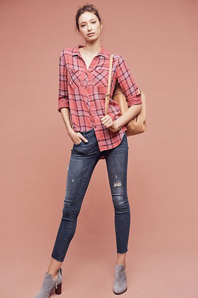 navy and pink plaid shirt with cropped skinny jeans and grey boots