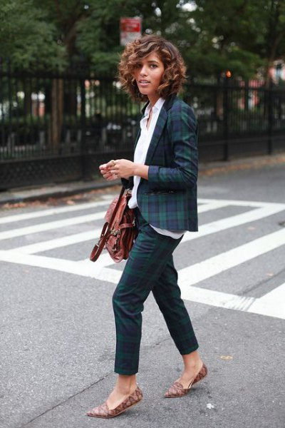 navy blue and green plaid blazer with white shirt