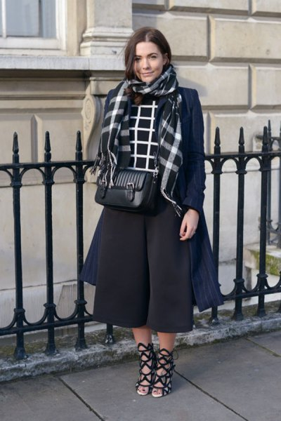 navy blue longline wool coat with black midi dress