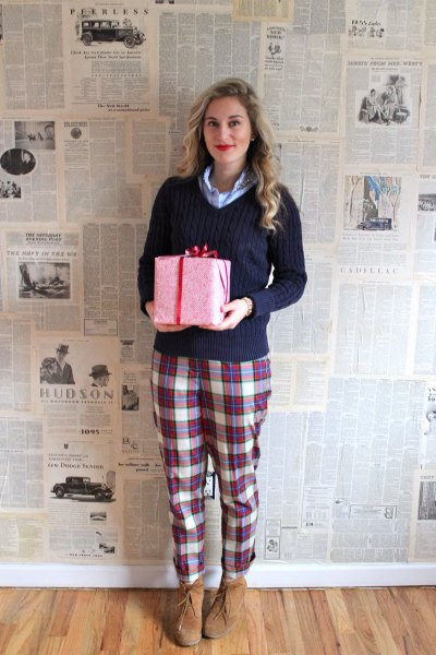 navy blue pullover sweater with grey and white plaid pajama pants