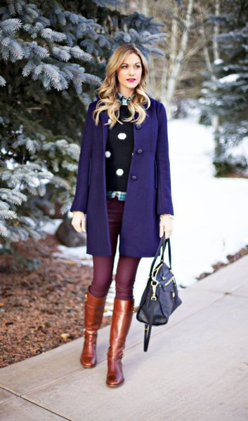navy blue wool coat dress with gold knee high boots