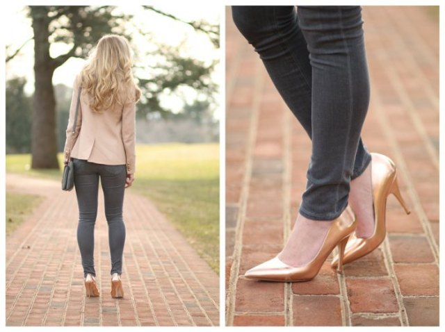 pale pink blazer with grey skinny jeans