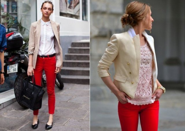 pale pink blazer with white button up shirt and red skinny pants