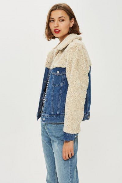 pale pink fleece and denim two toned jacket with boyfriend jeans