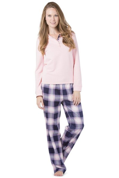 pale pink sweater long sleeve tee with black and white plaid pants
