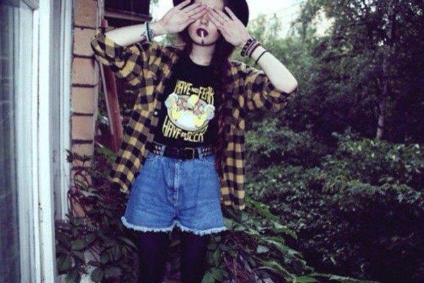 pale yellow and black plaid shirt with denim mini flowy shorts