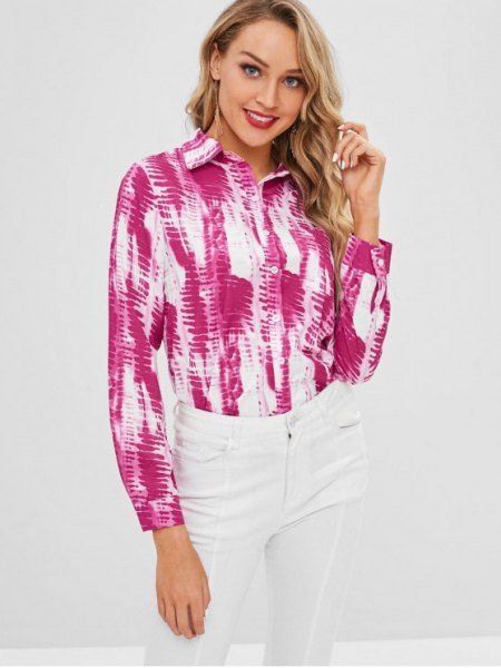 pink and white tie dye long sleeve button up shirt with skinny jeans