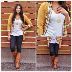 plaid shirt with mustard yellow cardigan and brown knee high boots