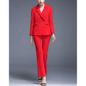red double breasted suit jacket with flared pants and open toe heels