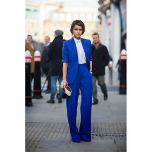 royal blue suit jacket with white shirt and wide leg pants