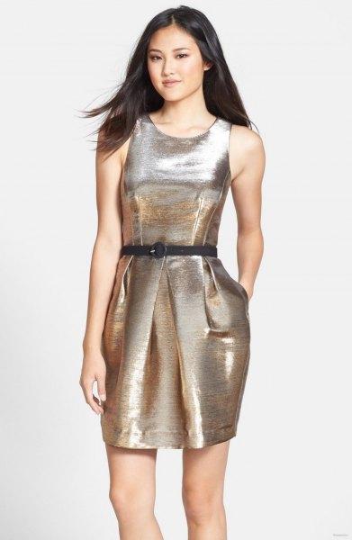 silver belted metallic tank dress with open toe heels