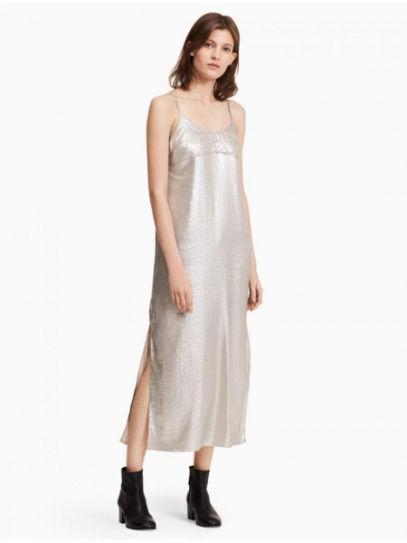 silver scoop neck spaghetti strap maxi dress with black leather ankle boots