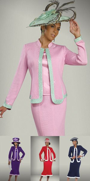 skirt suit with white and grey church hat