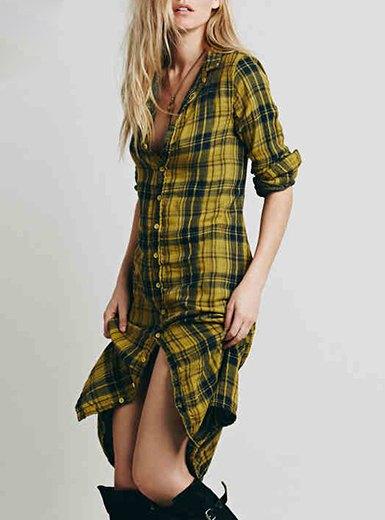 slim fit midi length yellow plaid shirt dress with long boots
