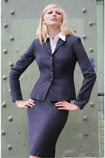 slim fit skirt suit with white button up shirt
